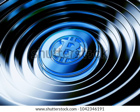 Blue Bitcoin Gold Crypto Currency Symbol Stock Illustration