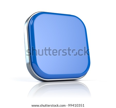 Blue blank application button icon - stock photo