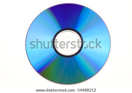 Blue blank CD, isolated on white background - stock photo