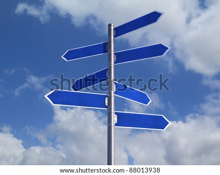 Blue Blank directions Signs over cloudy Sky - stock photo
