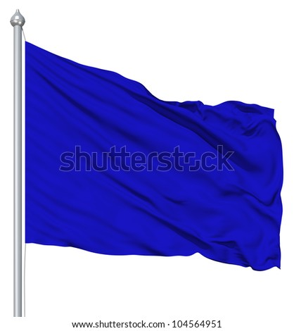 Blue blank flag with flagpole waving in the wind against white background
