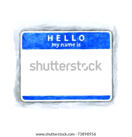 Blue blank HELLO my name is tag sticker with shadow on white background. Handmade watercolor technique - stock photo