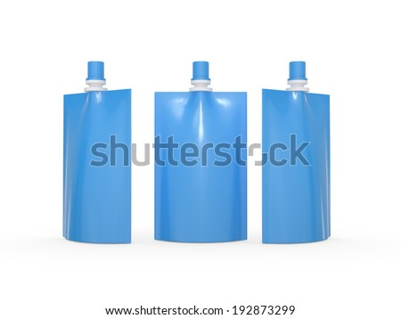 Blue blank juice  bag packaging with spout lid, clipping path included. Plastic pack mock up for liquid product like fruit juice, milk or jelly, Ready for design and artwork