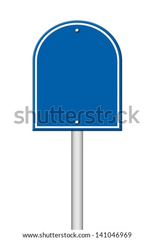 blue blank sign on white background - stock photo