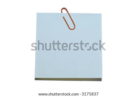 Blue blank sticker with red paper clip isolated on a white - Check gallery for other colors