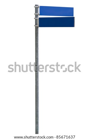 Blue blank street sign isolated on white, clipping path included - stock photo