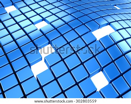 Blue block background , This is a computer generated and 3d rendered image.