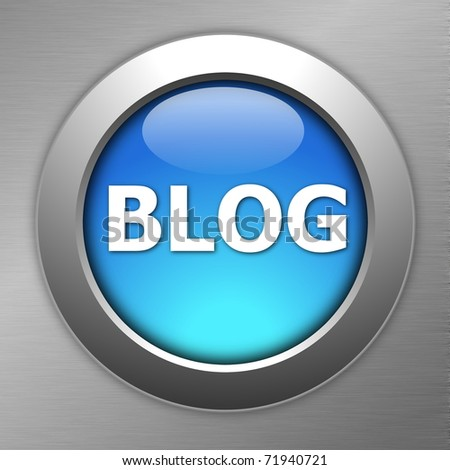 blue blog internet button on metal - stock photo
