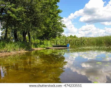 Blue boat moored to the shore of a picturesque lake in reeds