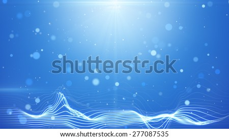 blue bokeh lights and wavy lines abstract background - stock photo