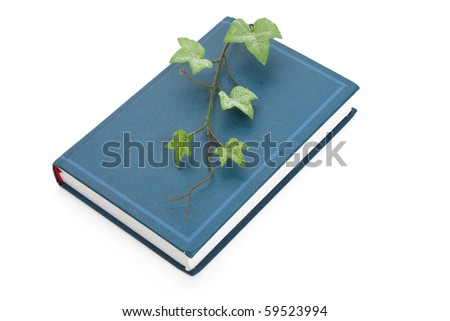 Blue book and sprout, education concept