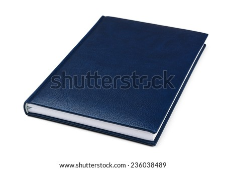 Blue book on a white background