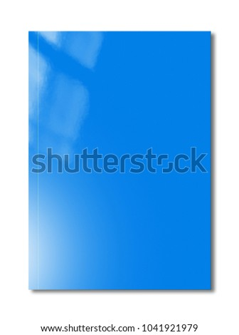 Blue booklet cover isolated on white background, mockup template