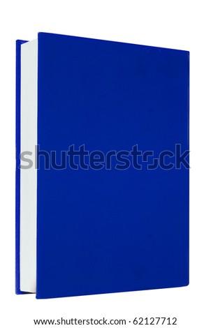 Blue books on white background isolated - stock photo