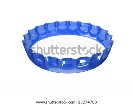 blue bottle cap isolated on white - stock photo