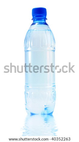Blue bottle of mineral water on a white background,Reflexion in water