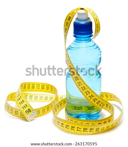 Blue bottle of water with centimeter tape isolated - stock photo