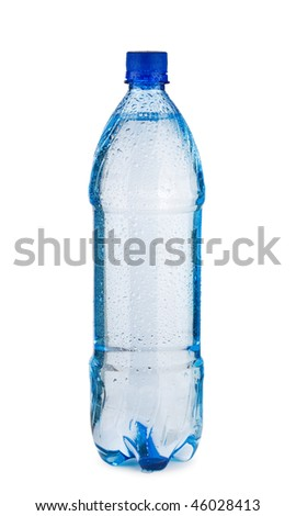 Blue bottle with water and drops isolated