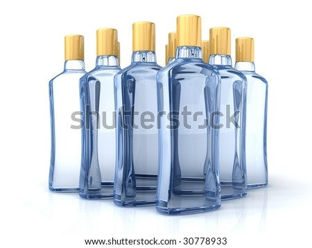Blue bottles isolated on the white - stock photo