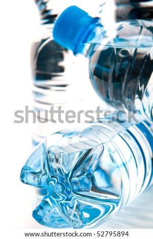 blue bottles with mineral water - stock photo