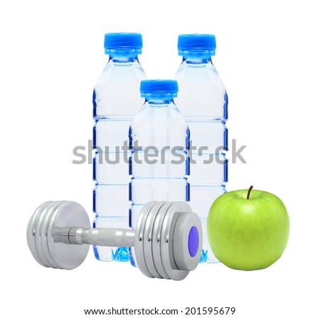 Blue bottles with water, chromed fitness dumbbells and green apple - stock photo