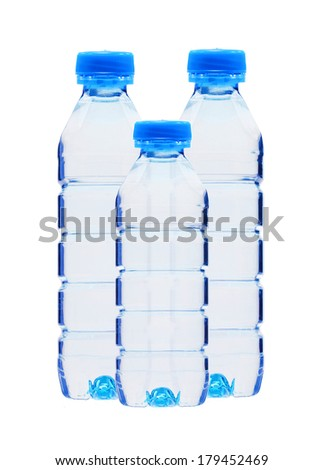 Blue bottles with water isolated on white background - stock photo