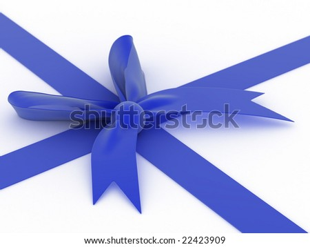 Blue bow! - stock photo