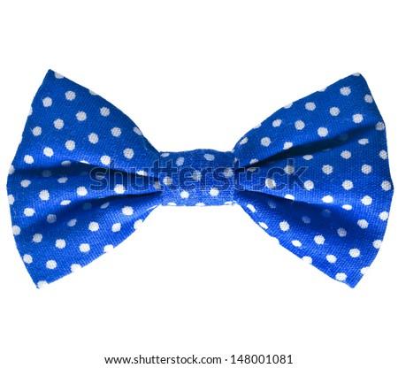 Blue bow close up on white isolated on white background  - stock photo