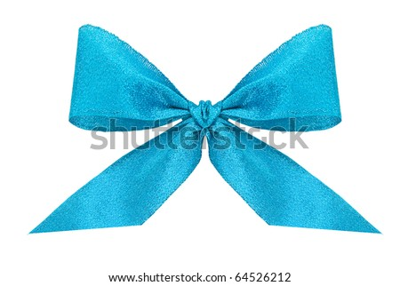 Blue bow isolated on white
