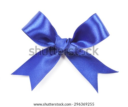 Blue bow isolated on white background.
