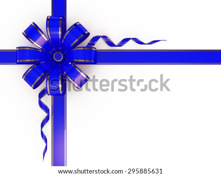 Blue bow with ribbon - stock photo