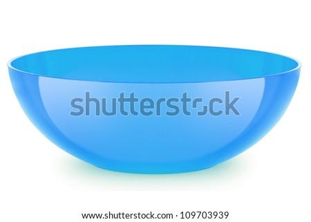 blue  bowl isolated on white background - stock photo