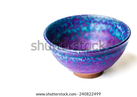 Blue bowl isolated on white background, antique