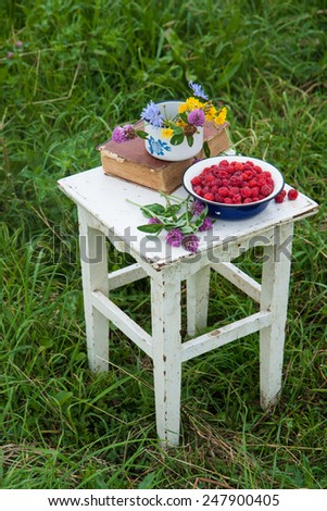 Blue bowl with raspberries, old book and cup with field flowers on the rustic white chair