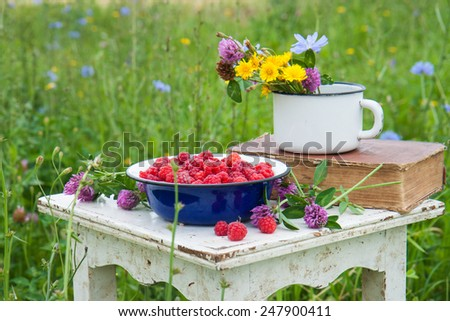 Blue bowl with raspberries, old book and cup with field flowers on the rustic white chair  .  - stock photo