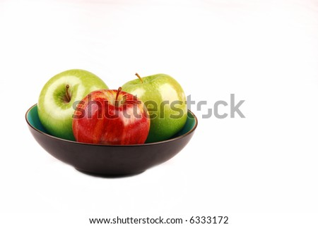 Blue bowl with three apples