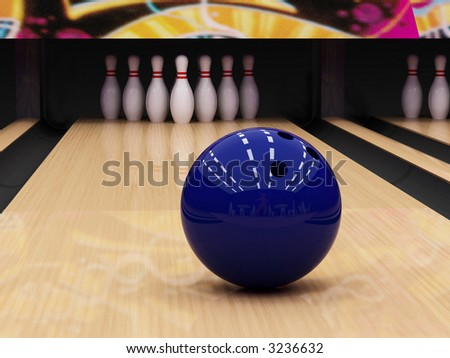 Blue bowling ball - stock photo
