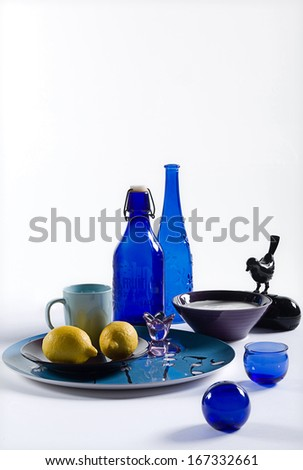 Blue bowls and bottles - stock photo