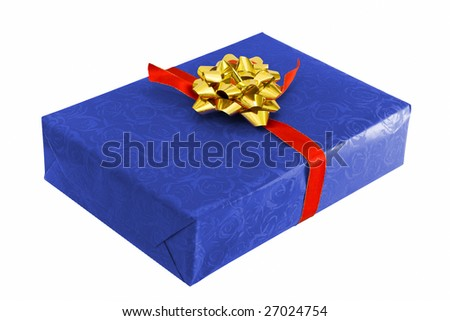 blue box and gold rose