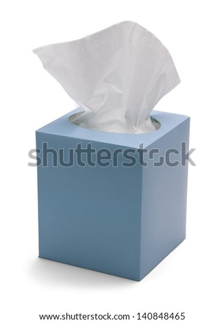 Blue Box of Tissues Isolated On White Background. - stock photo