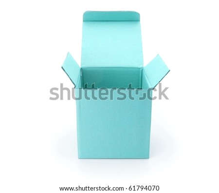 blue box with lid open isolated on white - stock photo