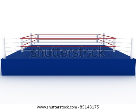 Blue boxing ring on a white background ?2 - stock photo