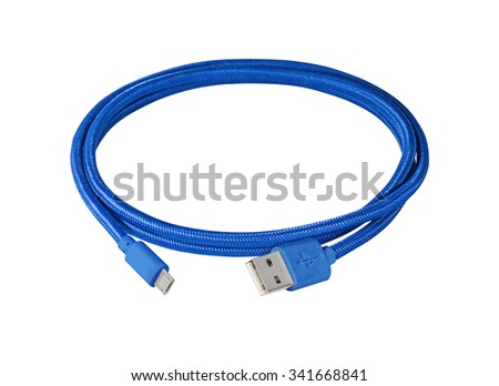 Blue braided wire usb to miniusb cable isolated on white - stock photo