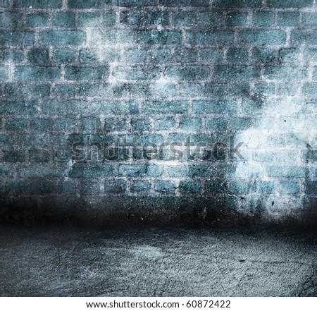 blue brick grunge room - stock photo