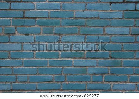 Blue brick wall. - stock photo