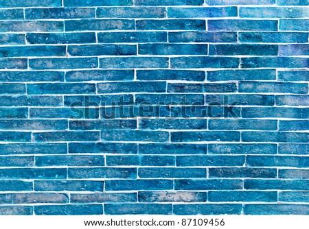 blue brick wall - stock photo