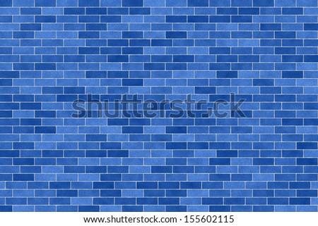 blue brick wall background - stock photo