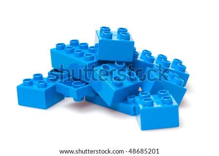 blue bricks isloted on white - stock photo