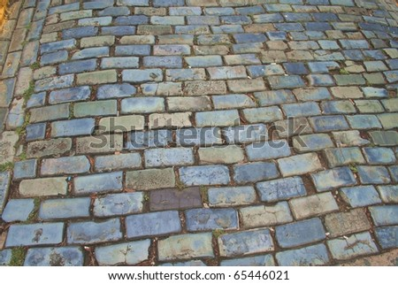 Blue Bricks of Old San Juan - stock photo