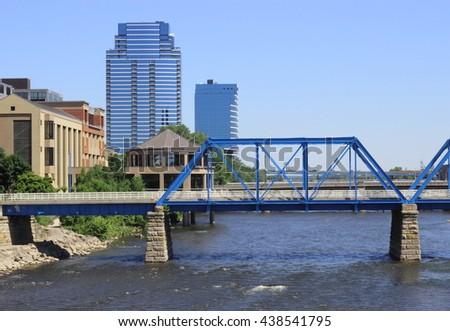 Blue Bridge. Grand Rapids - stock photo
